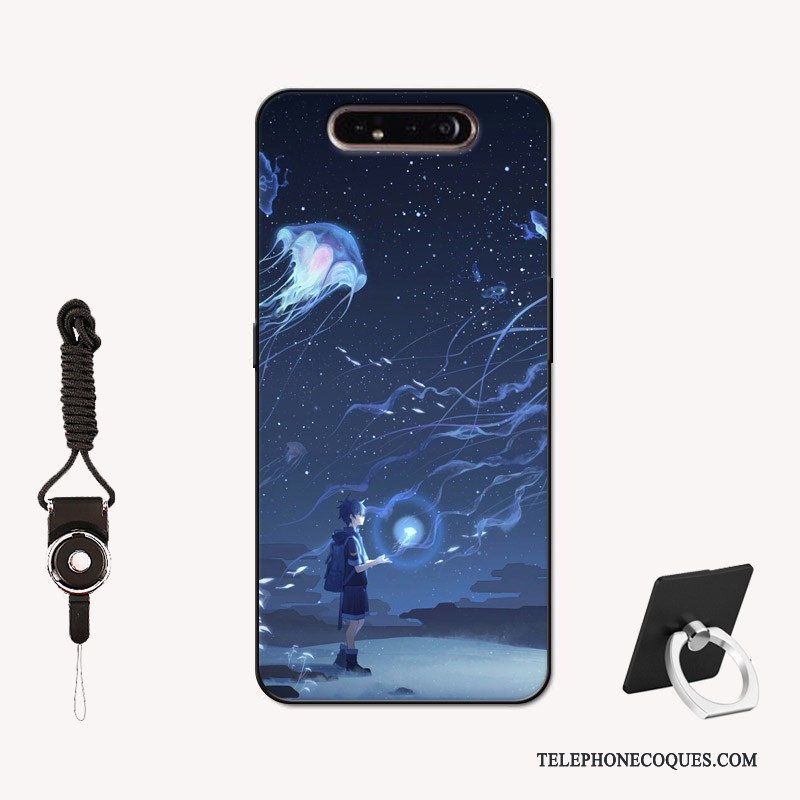 Coque Pour Samsung Galaxy A80 Étui Silicone Net Rouge Peinture Personnalisé Étoile