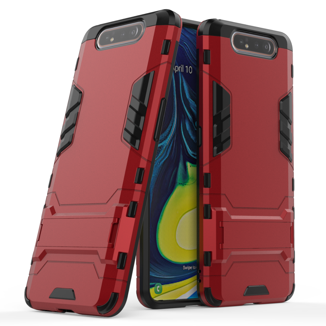 Coque Pour Samsung Galaxy A80 Armure Difficile Protection Étoile Support Rouge