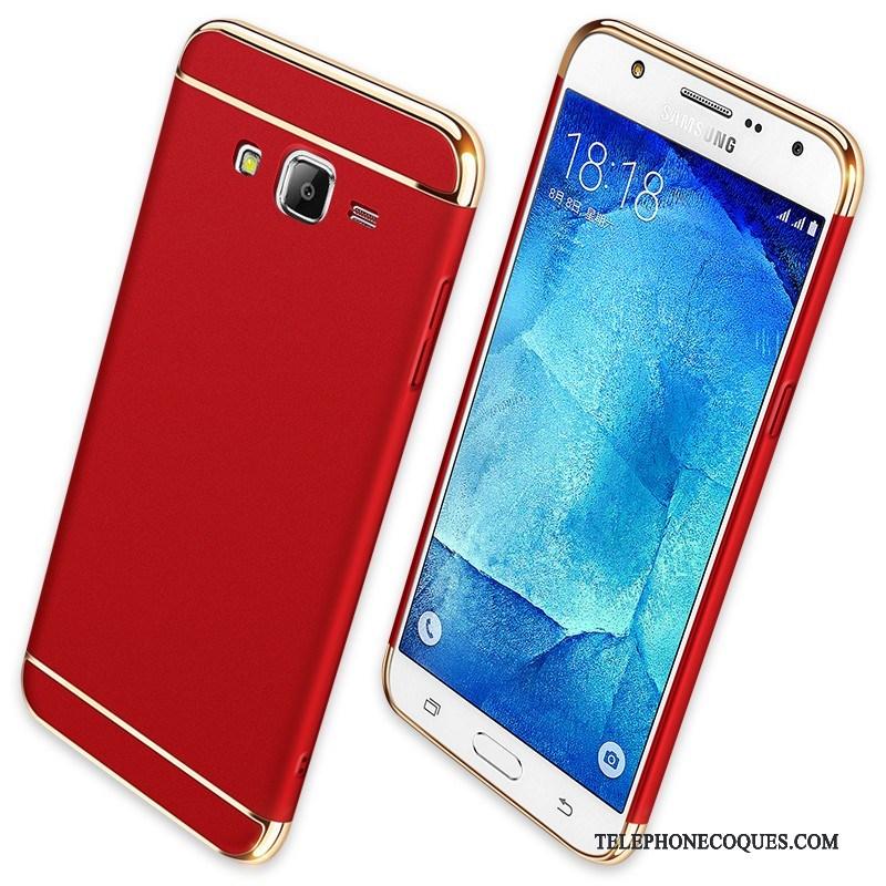 Coque Pour Samsung Galaxy J7 2015 Étoile Délavé En Daim De Téléphone Protection Rouge Incassable