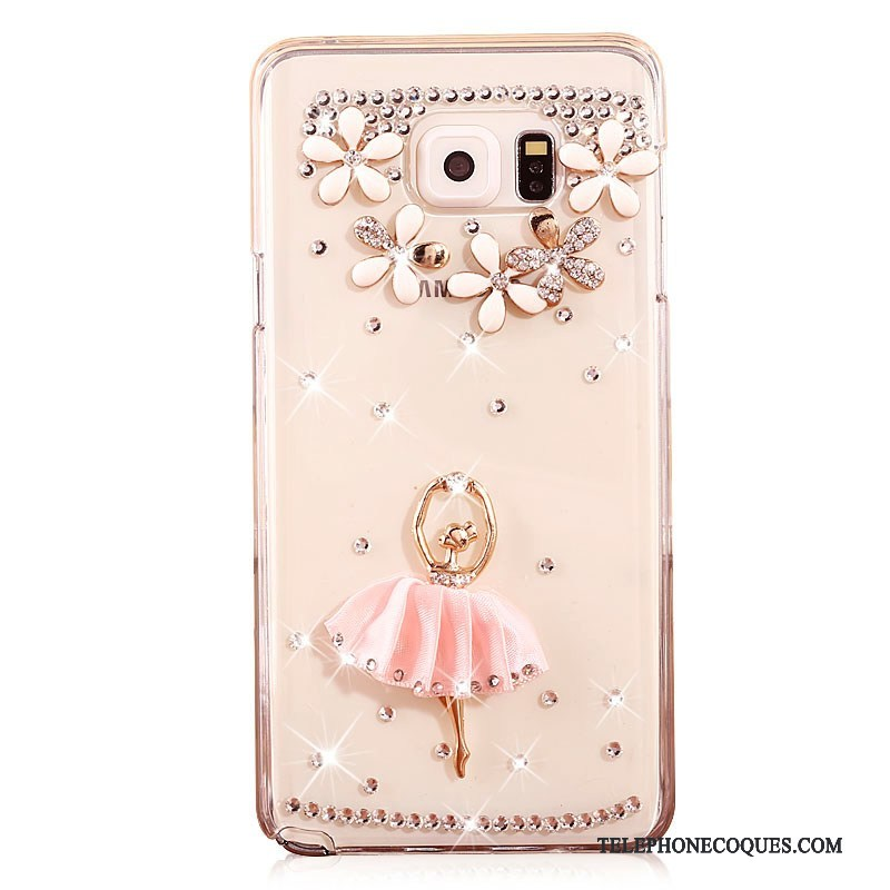 Coque Pour Samsung Galaxy Note 5 Or Protection Transparent Difficile Strass De Téléphone