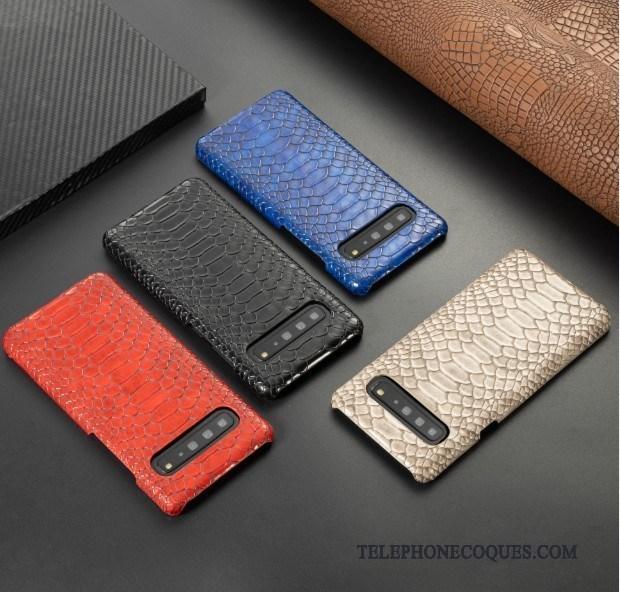 Coque Pour Samsung Galaxy S10 5g Bleu Étui Étoile De Téléphone Cuir Business