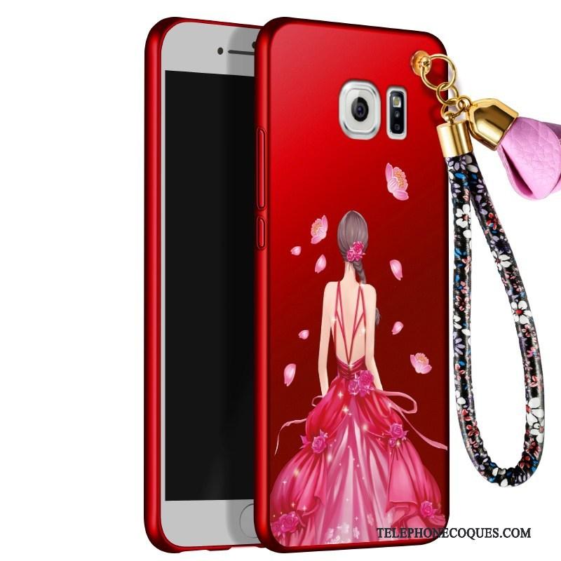 Coque Pour Samsung Galaxy S6 Edge + Ornements Suspendus Floral Étui Délavé En Daim Silicone Étoile
