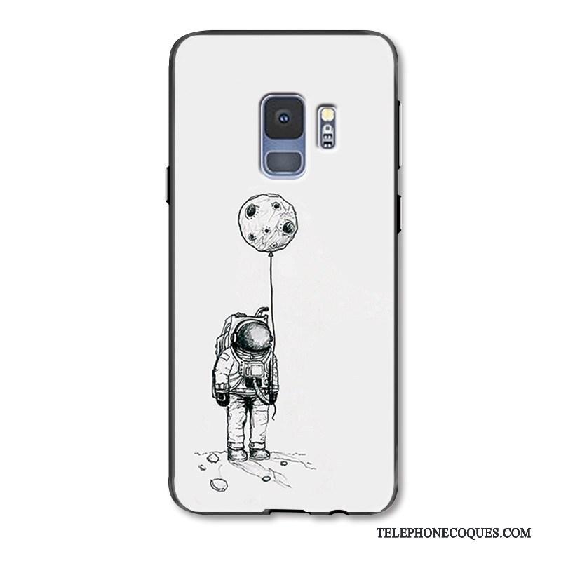 Coque Pour Samsung Galaxy S9 Blanc Délavé En Daim Dessin