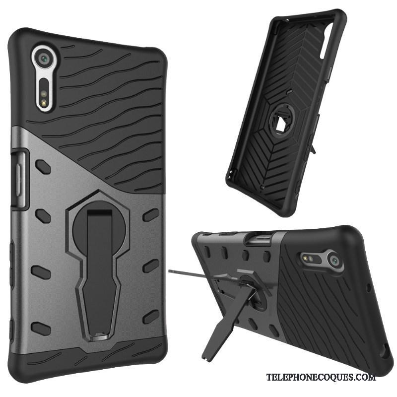 Coque Pour Sony Xperia Xz Étui En Cuir Coque De Téléphone Gris Protection