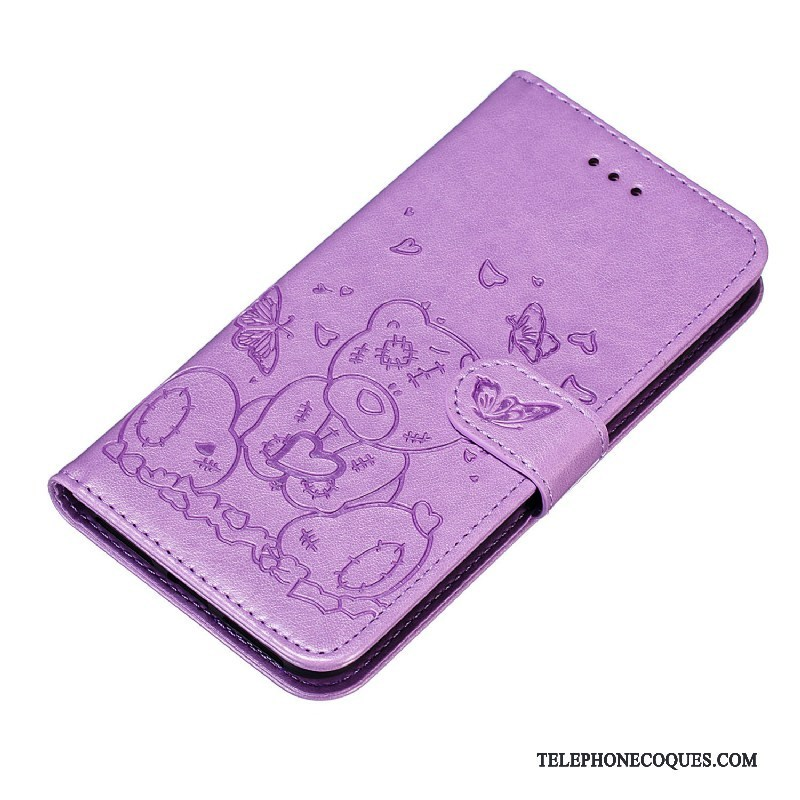 Coque Pour iPhone 11 Pro Max Carte De Téléphone Protection Étui Étui En Cuir Violet