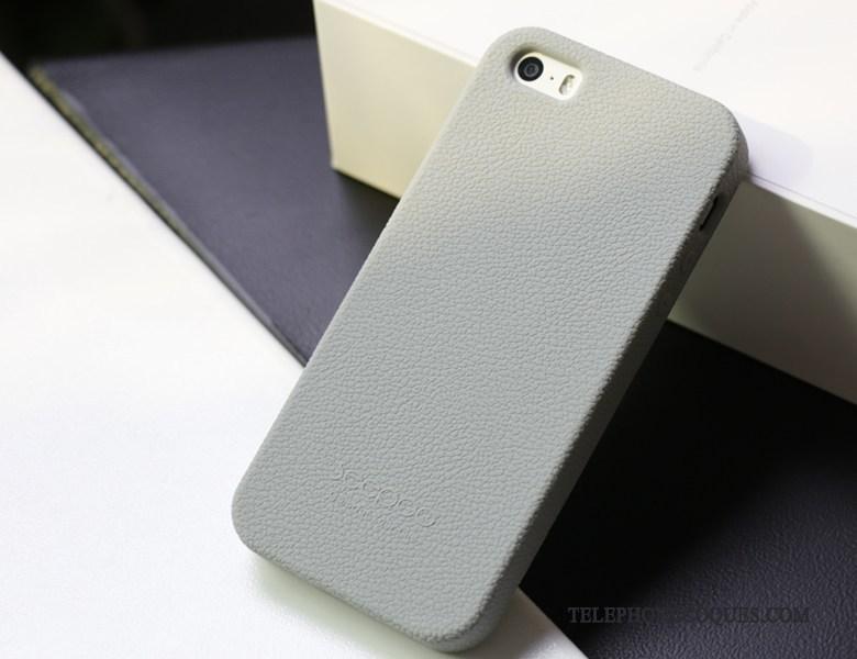 Coque Pour iPhone 5 5s Protection De Téléphone Gris Tissu Silicone Étui 3641