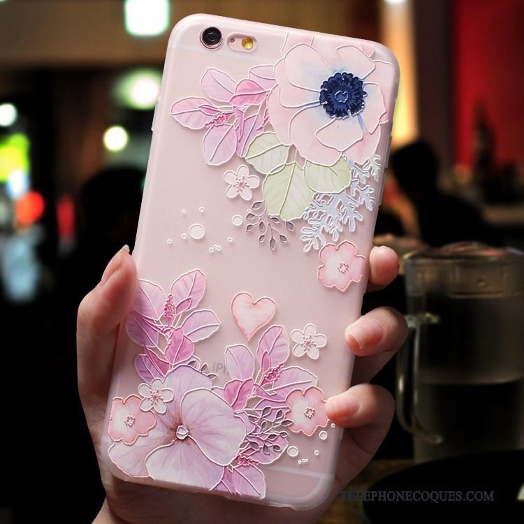 Coque Pour iPhone 7 Délavé En Daim Rose Incassable Silicone De Téléphone Marque De Tendance 4606