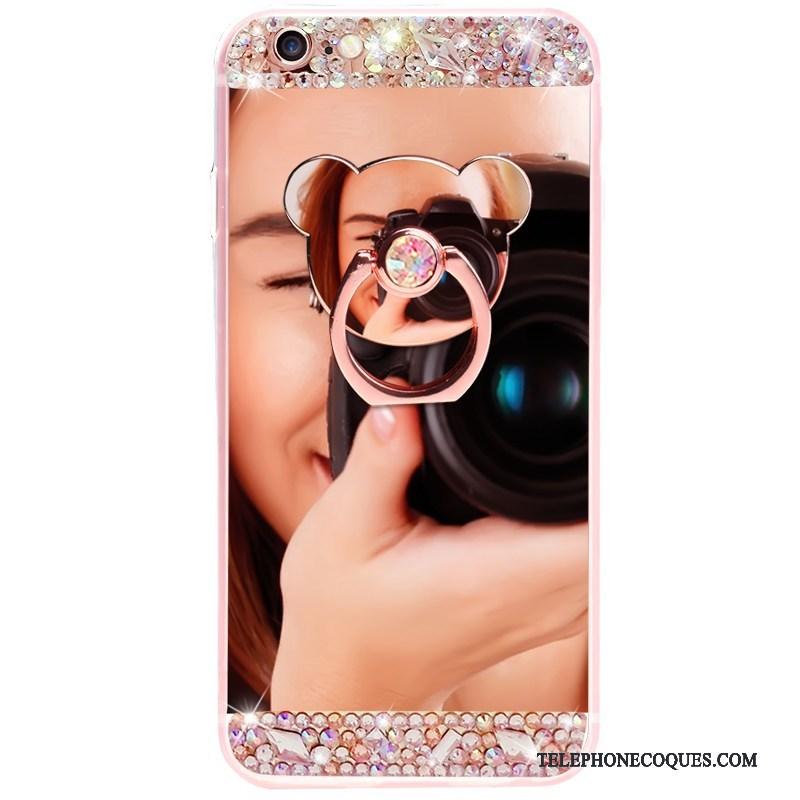 Coque Pour iPhone 7 Miroir De Téléphone Anneau Fluide Doux Silicone Luxe