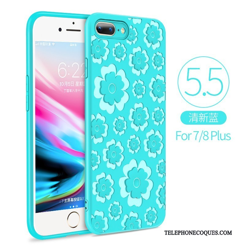 coque iphone 7 plus silicone bleu