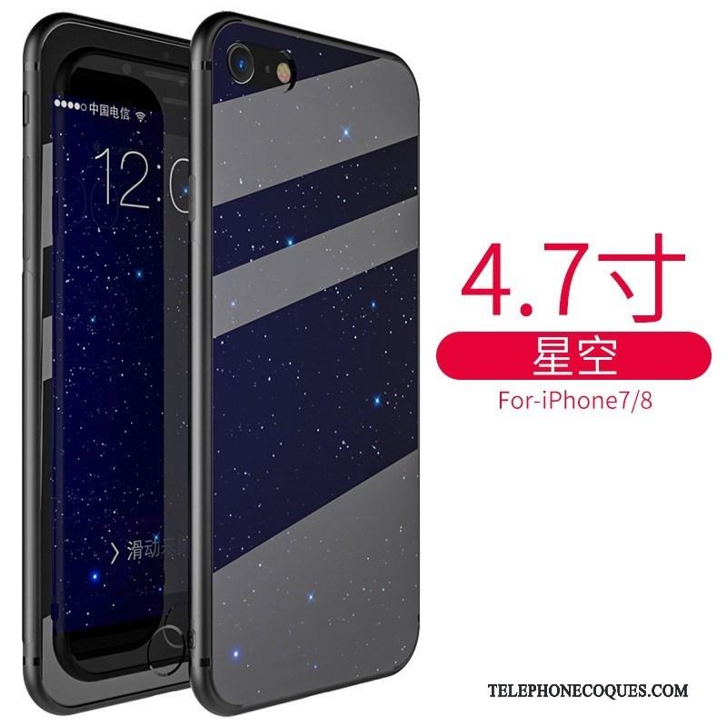 Coque Pour Iphone 8 Plus Marque De Tendance Silicone Bleu De Téléphone  Verre Personnalité Pas Cher 72e91ad741a1