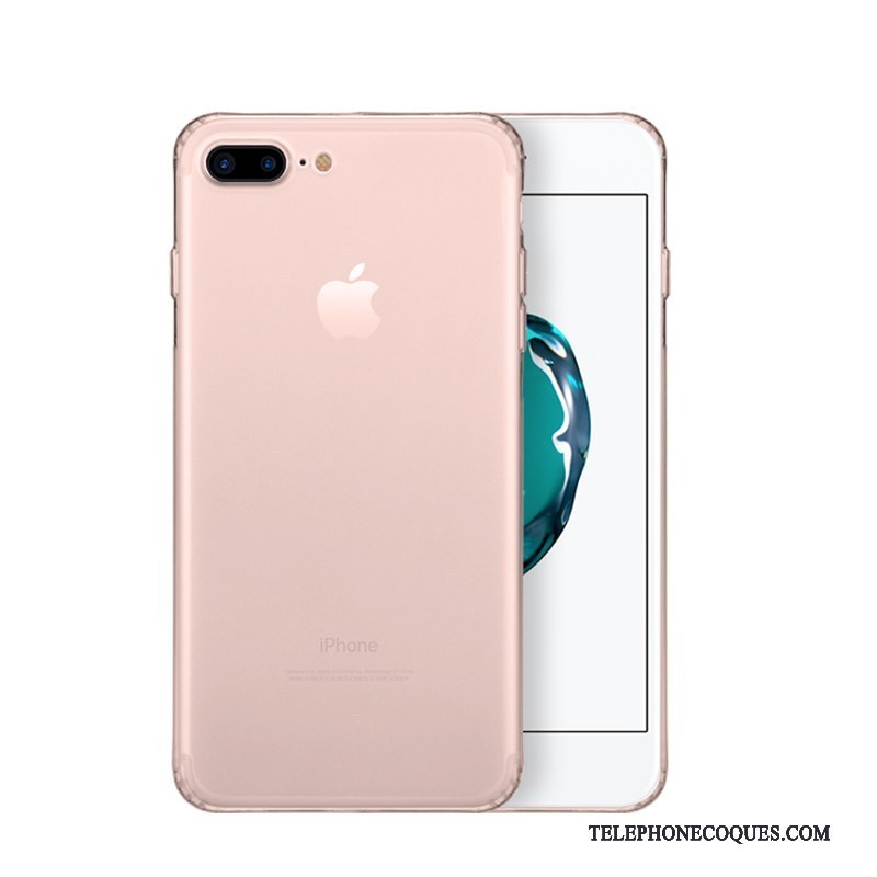 Coque Pour iPhone 8 Plus Or Rose Simple Transparent Silicone De Téléphone
