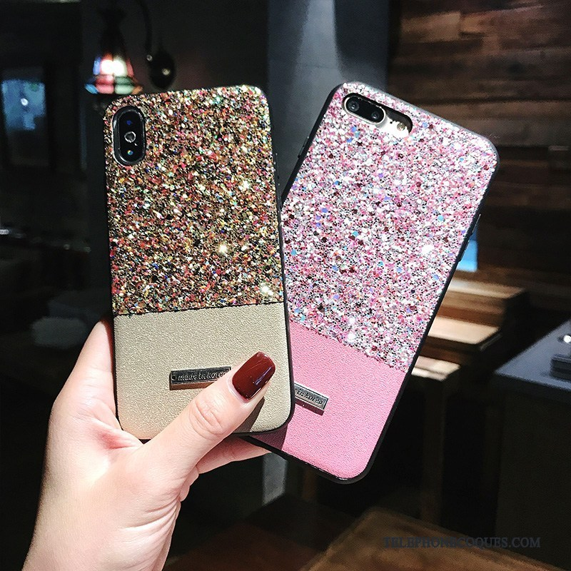 coque iphone x strass or
