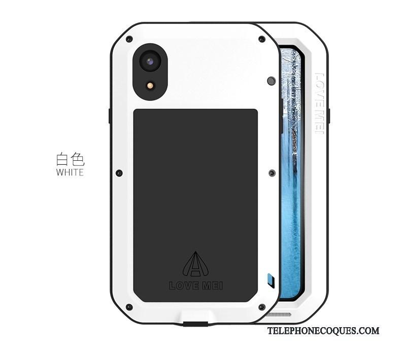 Coque Pour iPhone Xr De Téléphone Blanc Incassable Métal Protection Contre Les Explosions Étui