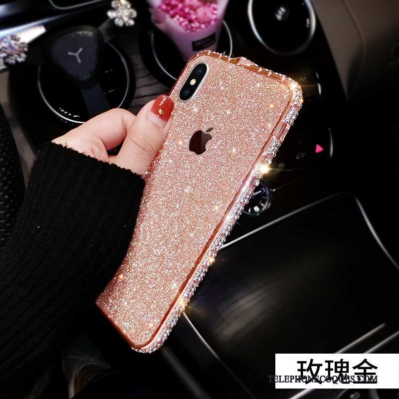 Coque Pour iPhone Xs Bordure Rose Or Rose Métal Strass Border